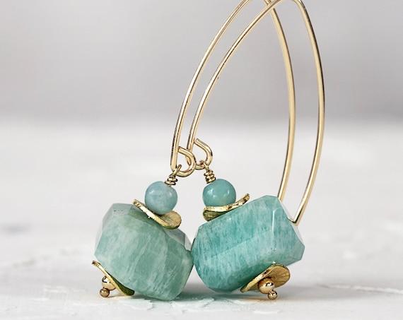 Amazonite Earrings - Chunky Stone Earrings For Women