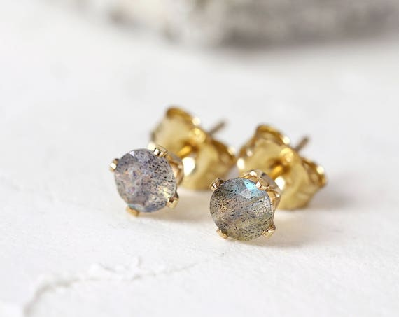 Labradorite Stud Earrings - Natural Stone Earrings