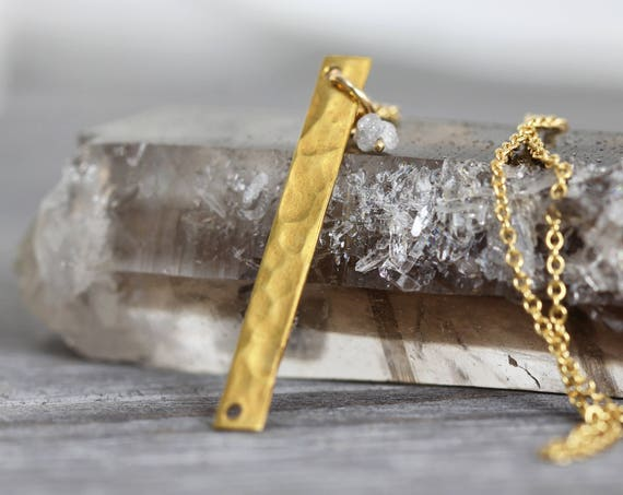 Skinny Bar Necklace - Rough Diamond Bar Necklace