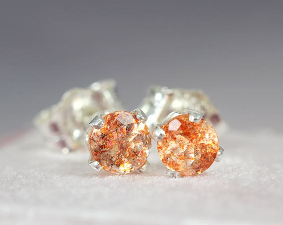 Sunstone Ear Studs - Orange Stud Earrings