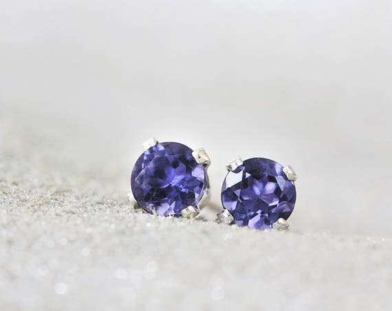 Iolite Earrings - Blue Gemstone Studs