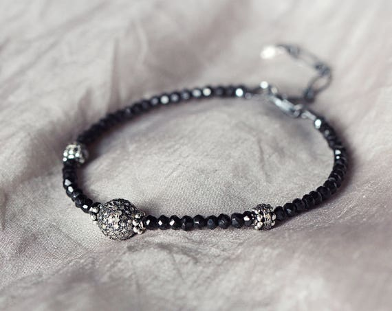 Diamond Pave Bracelet - Black Spinel Bracelet