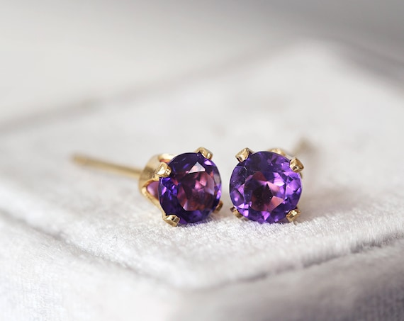 Amethyst Earrings - Amethyst Stud Earrings