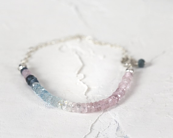 Ombre Aquamarine Bracelet - March Birthstone Bracelet