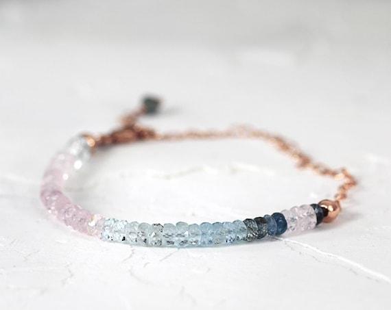 Pink Aquamarine Bracelet - Rose Gold Bracelet - Pretty Bracelet - Morganite Bracelet - Ombre Aquamarine Bracelet - March Birthstone Gift