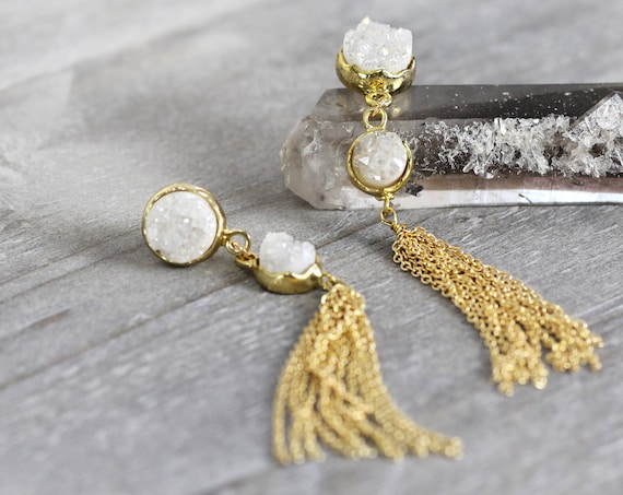 White Druzy Tassel Earrings -Long Statement Earrings