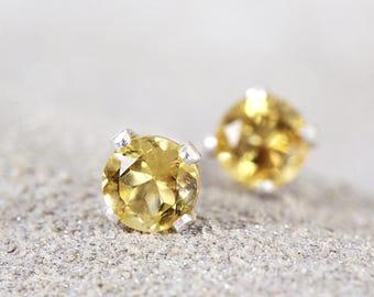 Citrine Stud Earrings - Citrine Earrings - Sterling Silver Studs - Dainty Stud Earrings - November Birthstone - Citrine Studs