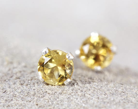 Citrine Stud Earrings - Silver Citrine Earrings