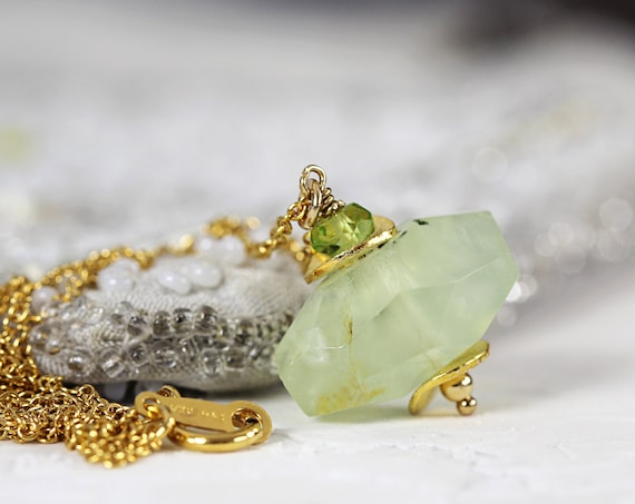 Prehnite Necklace - Natural Gemstone Pendant
