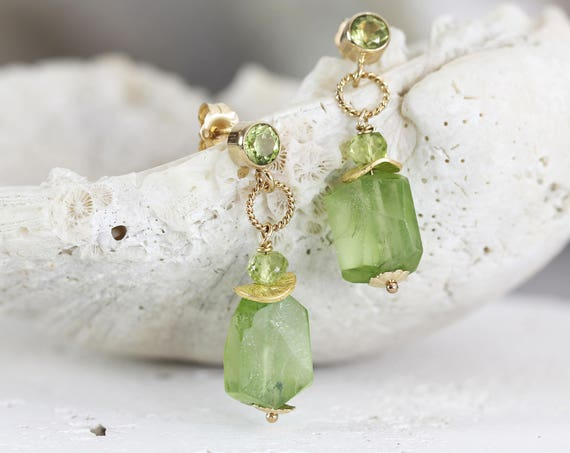 Raw Peridot Earrings - Raw Stone Jewellery