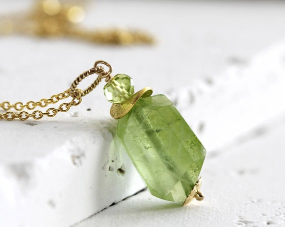Raw Peridot Necklace - Raw Stone Necklace