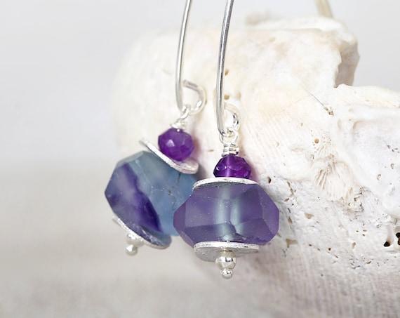 Fluorite Earrings -  Raw Stone Earrings