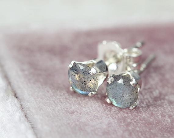 Labradorite Stud Earrings - Sterling Silver Earrings