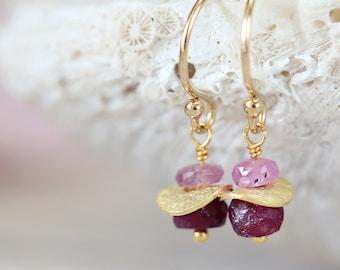 Gold Ruby Earrings - Precious Stone Earrings - July Birthstone Gift - Fine Jewelry - Pink & Red Gemstone Earrings - Precious Stone Jewellery