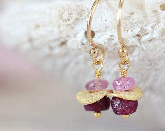 Gold Ruby Earrings - Fine Jewelry Birthstone Gift