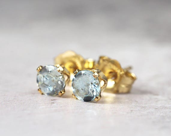 Blue Aquamarine Earrings - March Birthstone Gift