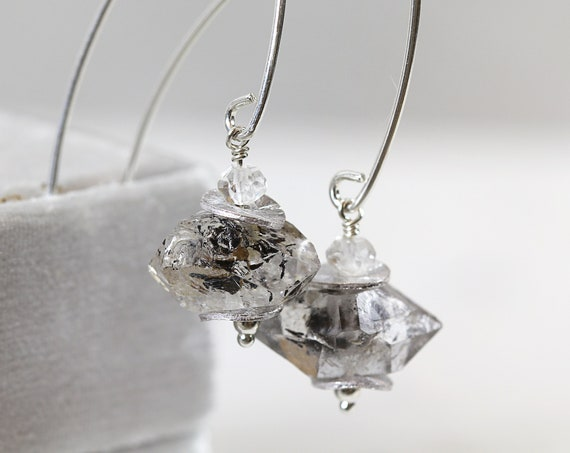 Herkimer Earrings - Raw Gemstone Earrings - Herkimer Diamond Jewellery - Raw Crystal Earrings - Drop Earrings - Modern Earrings
