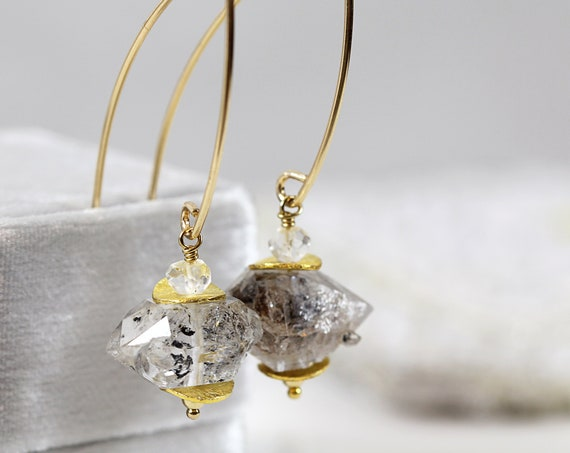 Gold Herkimer Diamond Earrings - Party Earrings