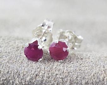 Ruby Earrings - Red Stone Earrings - Post Earrings - July Birthstone Gift - Ruby Earrings Stud - Precious Stone Earrings - Ruby Jewelry