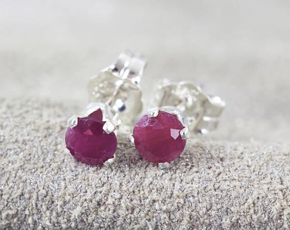 Ruby Earrings - Precious Stone Studs