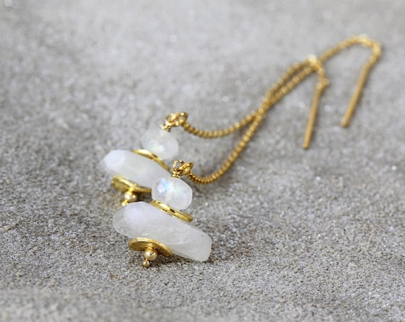 Moonstone Earrings - Gold Threader Earrings - June Birthstone - White Gold Earrings - Wedding Earrings - White Stone Earrings