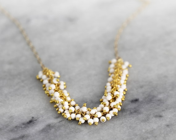 White Pearl Necklace - Pearl Cluster Necklace