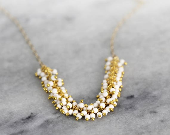 White Turquoise Necklace - Gemstone Cluster Necklace