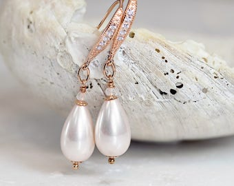Ivory Pearl Earrings - Bridal Earrings - Rose Gold Earrings with Rose Quartz - June Birthstone - Bridal Jewelry - Pearl Jewelry