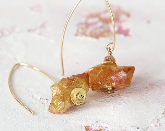 Aura Quartz Earrings - Raw Crystal Earrings