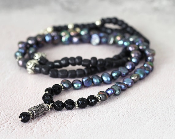 Long Pearl Necklace - Black Jet Necklace