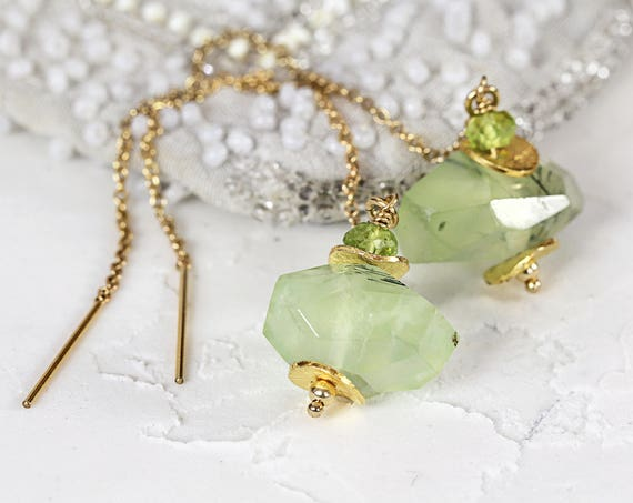 Prehnite Earrings - Gemstone Threader Earrings