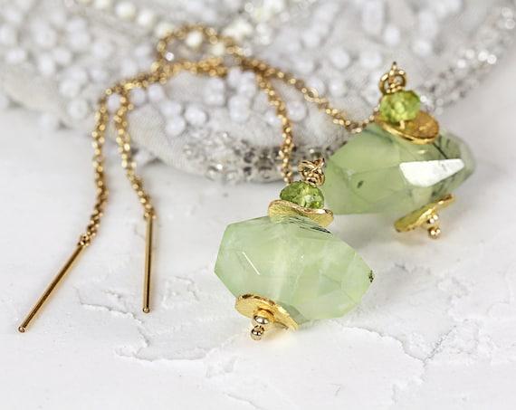 Prehnite Earrings - Gemstone Threader Earrings