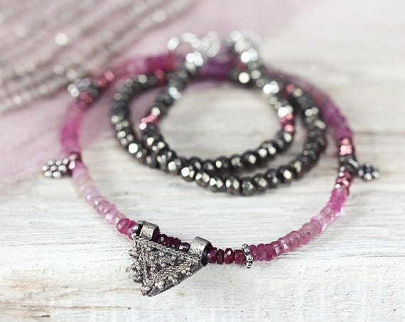 Sapphire & Ruby Necklace - Precious Stone Necklace