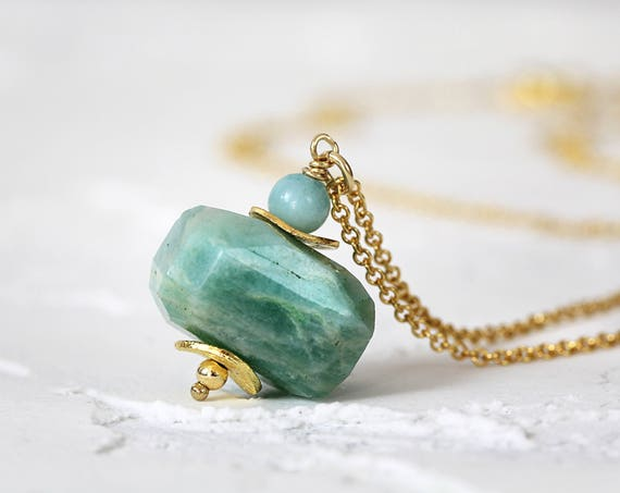 Amazonite Necklace - Green Stone Pendant