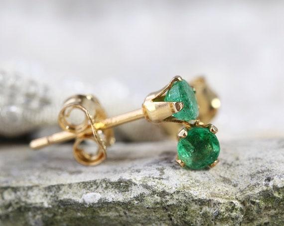 SINGLE Stud Earring - Emerald Stud - Green Emerald Earring - Tiny Earring - May Birthstone Gift - Earring For Men - Single Earring