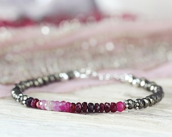 Ombre Ruby Bracelet - July Birthstone Bracelet Gift For Her / Mom / Woman - Gemstone Ruby Jewelry