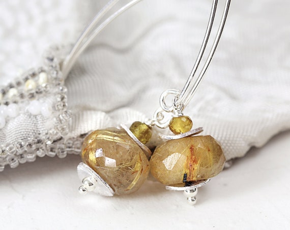 Rutilated Quartz Earrings - Golden Rutilated Earrings
