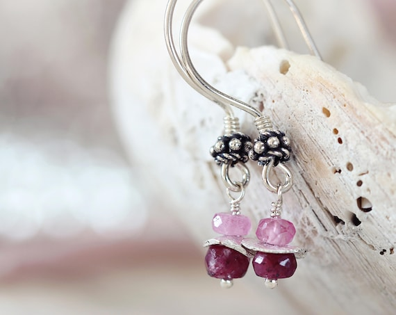 Silver Ruby Earrings - July Birthstone Jewelry