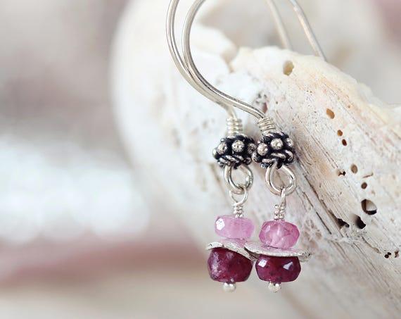 Silver Ruby Earrings - July Birthstone Jewelry