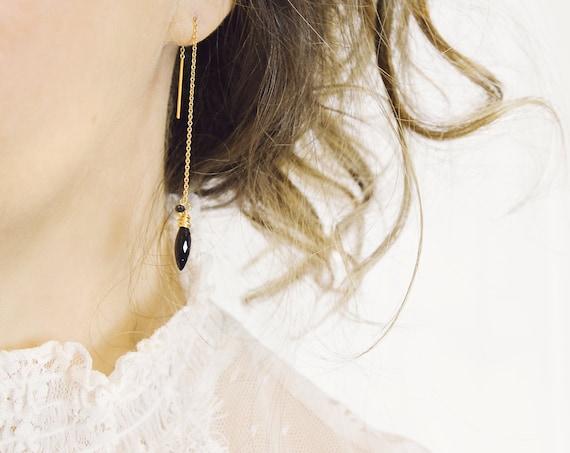 Black Spinel Earrings - Black Diamond Earrings
