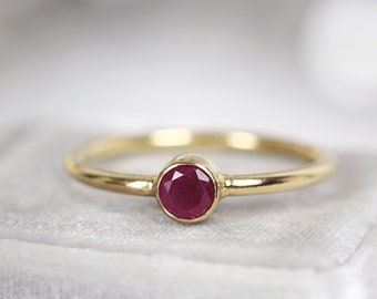 Red Ruby Ring Gold - Solitaire Ruby Ring For Women - Ruby Anniversary Ring Gift - Fine Jewelry Ring Various Sizes - July Birthstone Ring