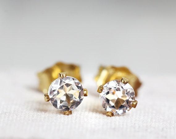 White Topaz Earrings - November Birthstone Earrings