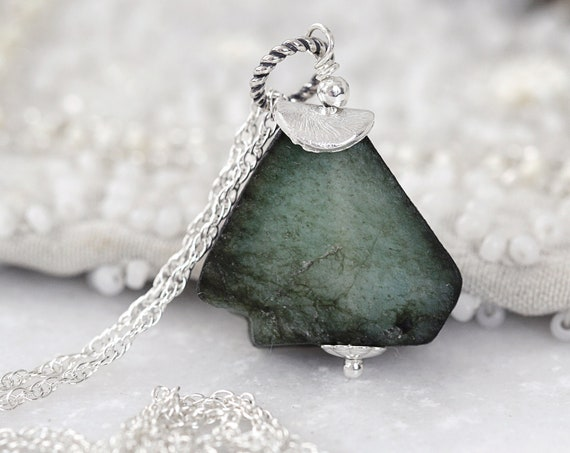 Silver Emerald Necklace - Rough Emerald Pendant