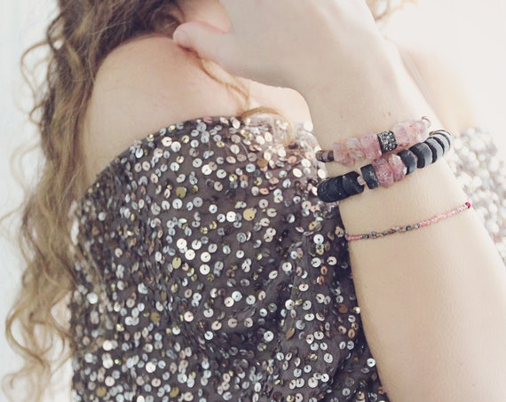 Pink Red Diamond Bracelet - Real Raw Diamond Bracelet - April Birthstone Gift