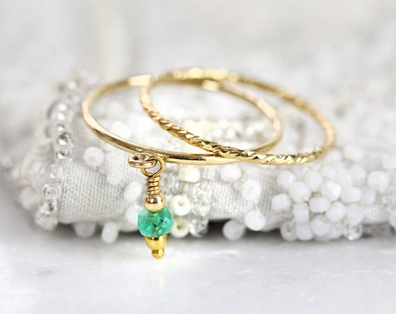 Stackable Gold Ring Set - Charm Rings For Women - Emerald Ring Dainty