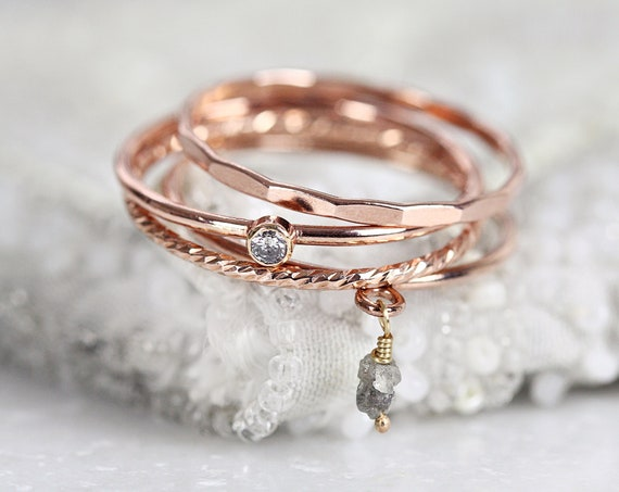 Gray Diamond Stacking Rings Set - Stackable Rings Diamond - Rose Gold Ring Stack