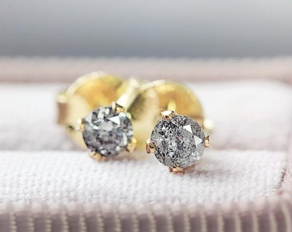 Real Diamond Stud Earrings - Grey Diamond Studs