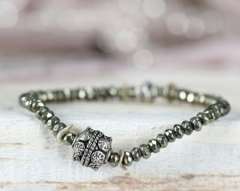Silver & Pyrite Stretch Bracelet - Mixed Metal Bracelet - Pyrite Bracelet - Mixed Metal Jewelry - Edgy Bracelet - Stacking Bracelet