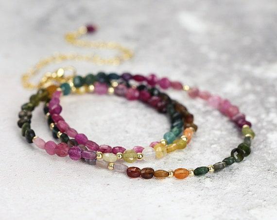 Multi Tourmaline Necklace Gold - October Birthstone Gift