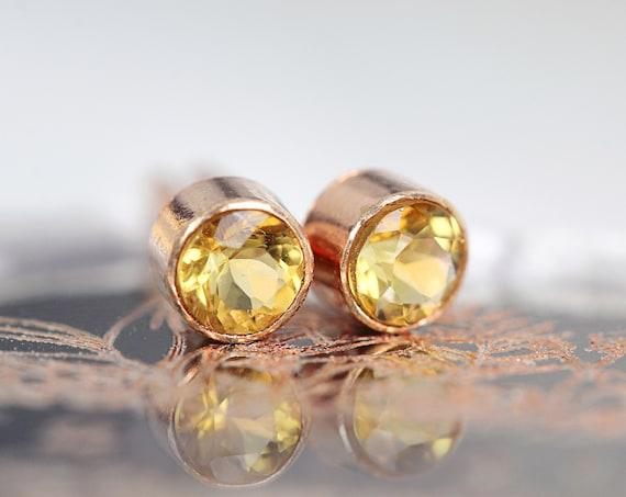 Rose Gold Citrine Earrings - Citrine Earrings Stud